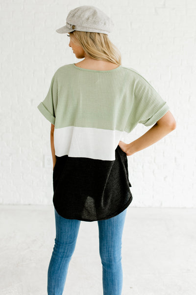 Mint Sage Green White Charcoal Gray Color Block Colorblock Cute Tops Boutique