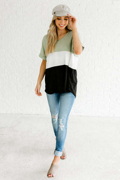 Green White Gray Color Block Oversized High Low Hem Cuffed Sleeve Waffle Knit Boutique Tops