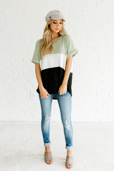 Sage Green White Charcoal Gray Color Block Cute Waffle Knit Tops for Women