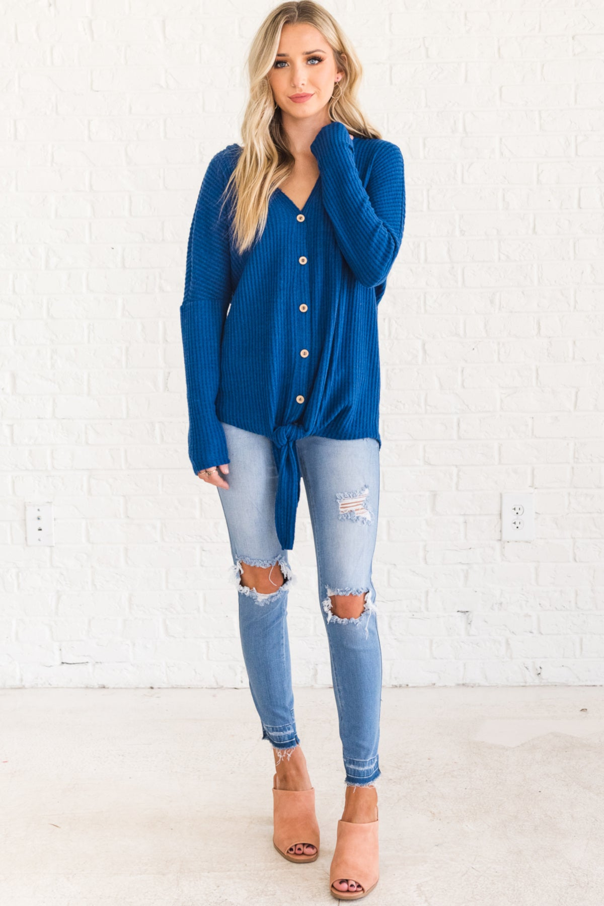 Sapphire Blue Oversized Button Up Front Tie Knot Waffle Knit Long Sleeve Tops