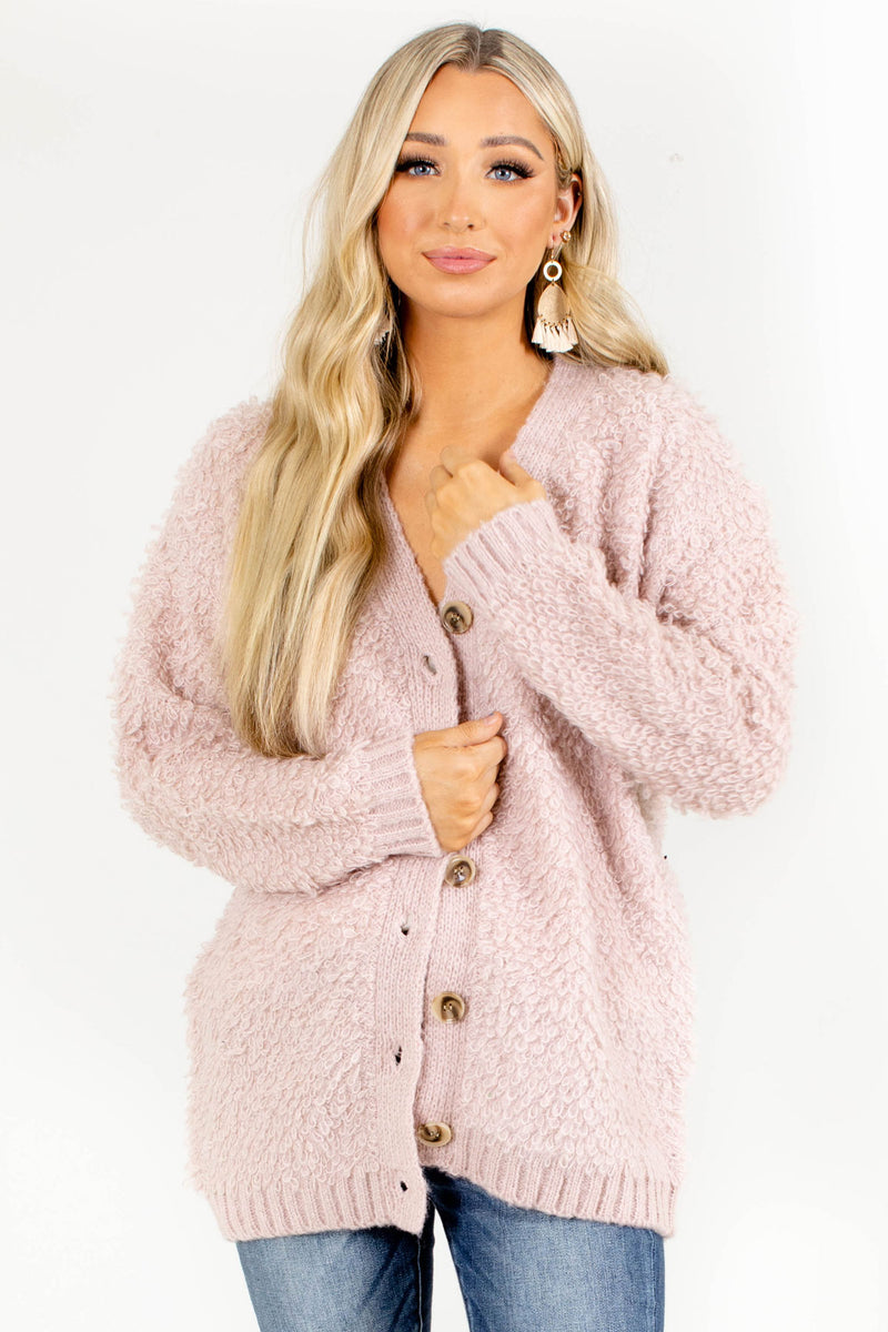 Seen on Stage Button-Up Cardigan - Light Pink