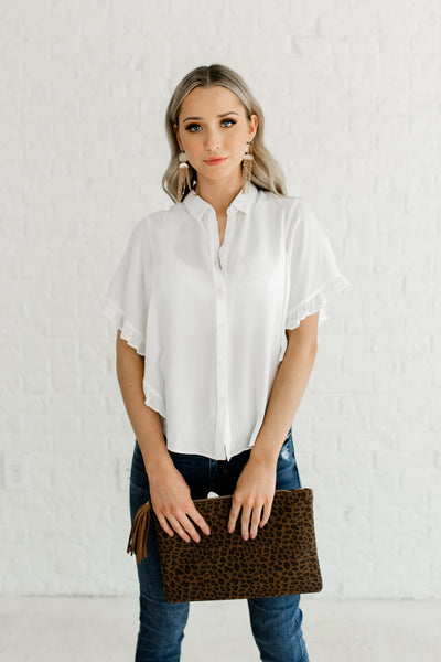 White Button Up Shirt Collar Cute Ruffle Tops Affordable Online Boutique