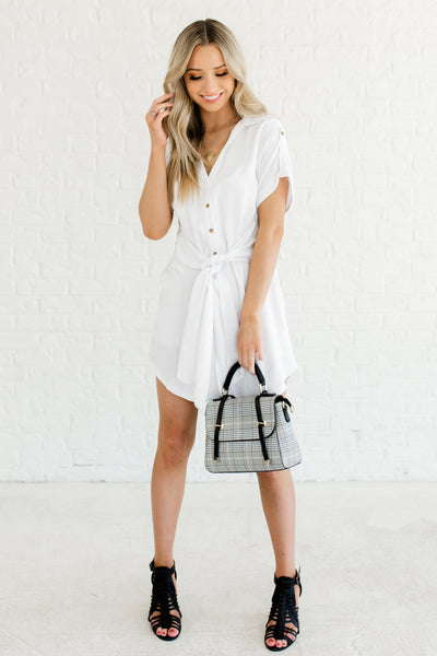 White Button Up Cute Mini Shirt Dresses Affordable Online Boutique Fashion for Women