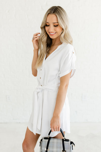 White Button Up Wide Tie Front Shirt Collar Mini Dresses for Business Casual Girl Boss Boutique