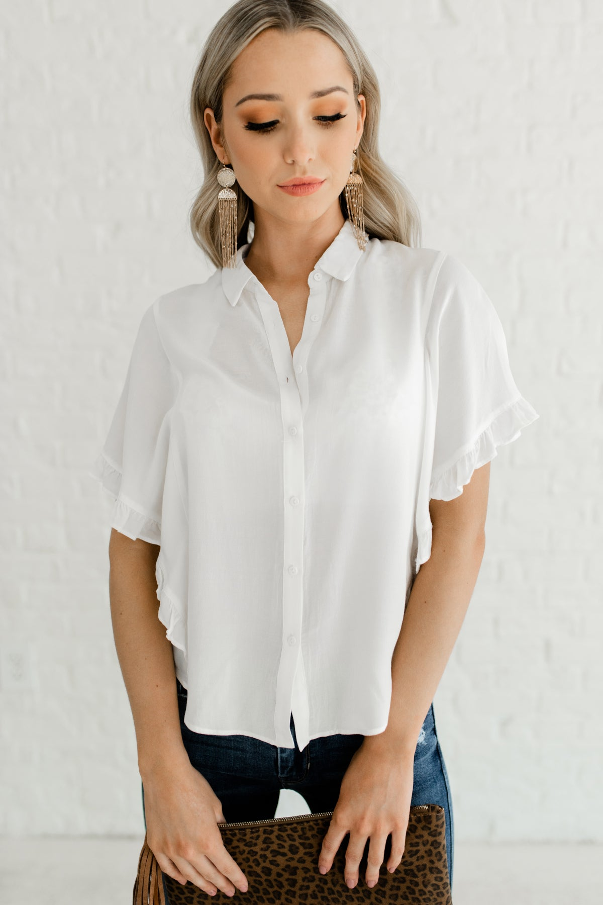 White Button Up Shirt Collar Cute Business Casual for Women Ruffle Tops