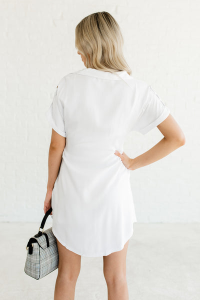 White Button Up Shirt Collar Cute Business Casual for Women Mini Dresses