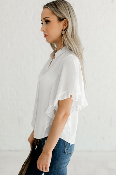 White Ruffle Short Sleeve Button Up Womens Business Casual Shirts Tops Blouses