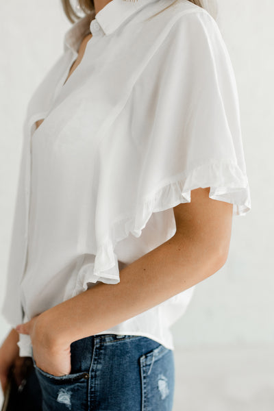 White Ruffle Button Up Shirt Collar Cute Tops and Blouses for Women