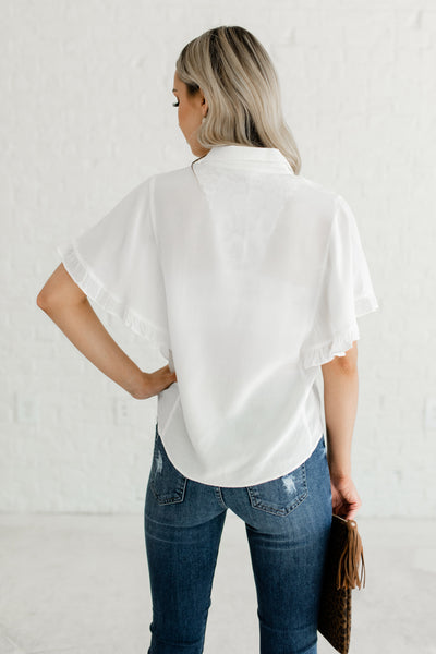 White Button Up Semi Sheer Blouse with Ruffle Sleeves for Women