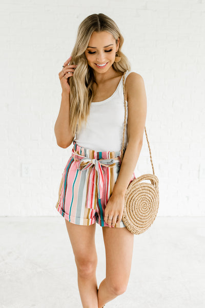 Pink Teal Multicolored Rainbow Color Block Striped Short Shorts for Spring Summer