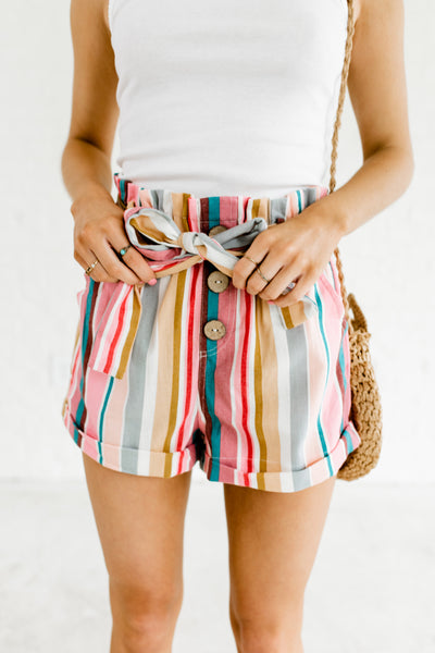 Pink Multi Color Rainbow Stripe Paperbag Waist High Waisted Boutique Shorts