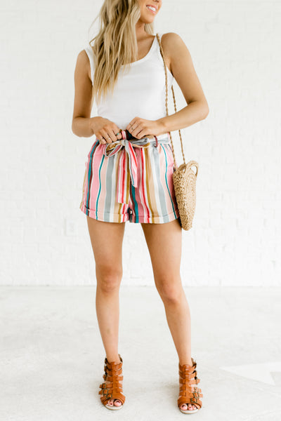 Pink Multi Rainbow Striped Color Block High Waisted Short Shorts Paperbag Waist