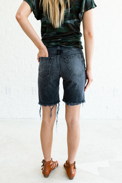 97e5b8d706f Faded Black Distressed Frayed Denim Shorts with Longer Length and Pockets