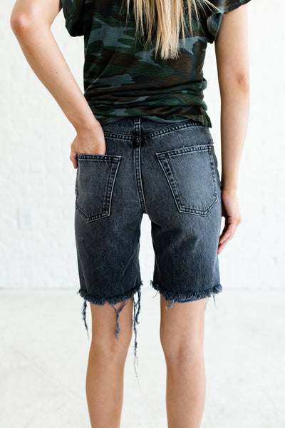 Faded Black Charcoal Gray Distressed Denim Shorts Affordable Online Boutique