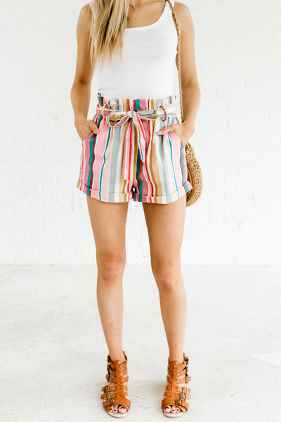 Pink Multi Multicolored Rainbow Striped Color Block Paperbag Waist Shorts for Women