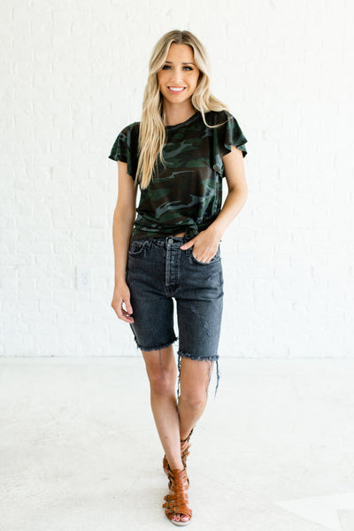 Faded Black Charcoal Denim Distressed Frayed Bermuda Boutique Shorts