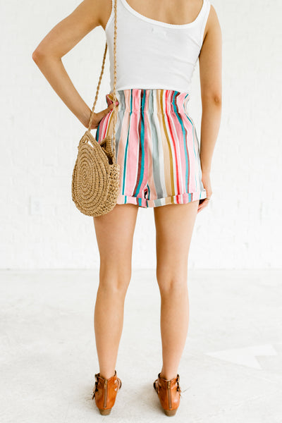 Pink Teal Multi Colored Striped Color Block Rainbow High Waisted Paper Bag Shorts