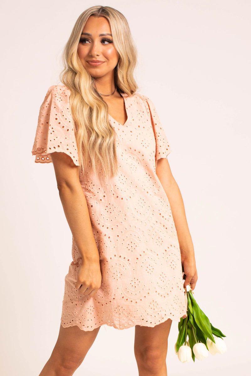 Slip Into This Eyelet Mini Dress