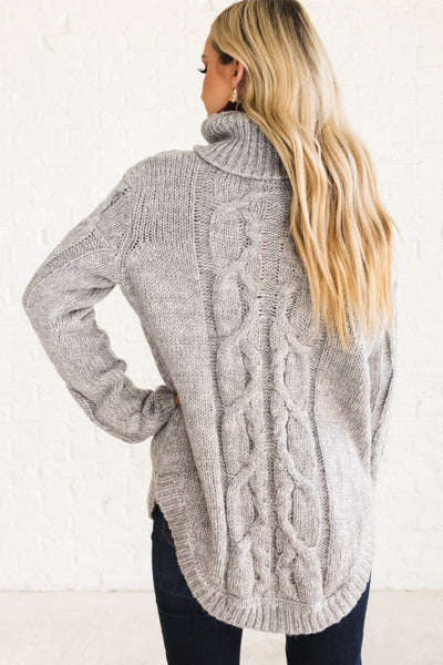 Gray Cable Knit Turtleneck Sweaters with Boyfriend Fit and Warm Cozy Thick Material