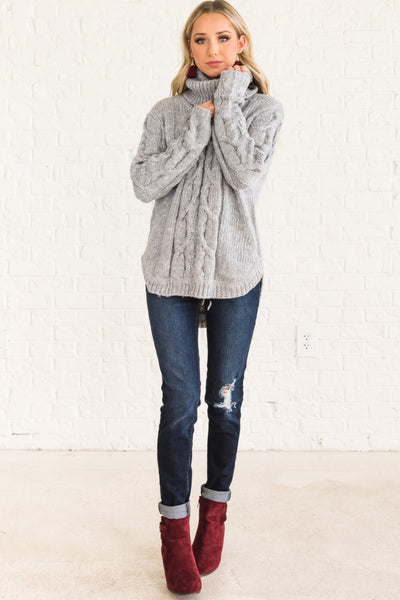Gray Warm Cozy Turtleneck Cable Knit Boyfriend Sweaters for Women