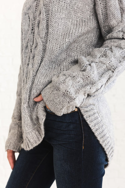 Gray Boyfriend Cable Knit Turtleneck Sweaters Affordable Online Boutique
