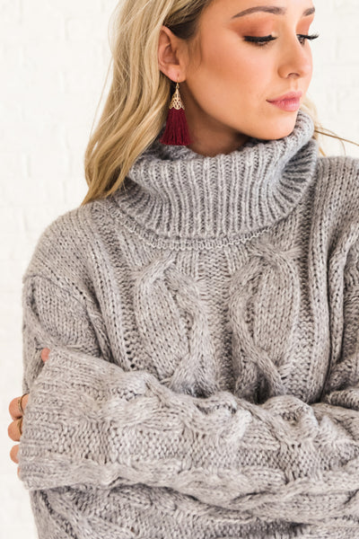Gray Thick Oversized Long Cable Knit Turtleneck Sweaters for Women