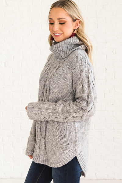 Gray Boutique Cable Knit Turtleneck Sweaters Winter Warm Cozy