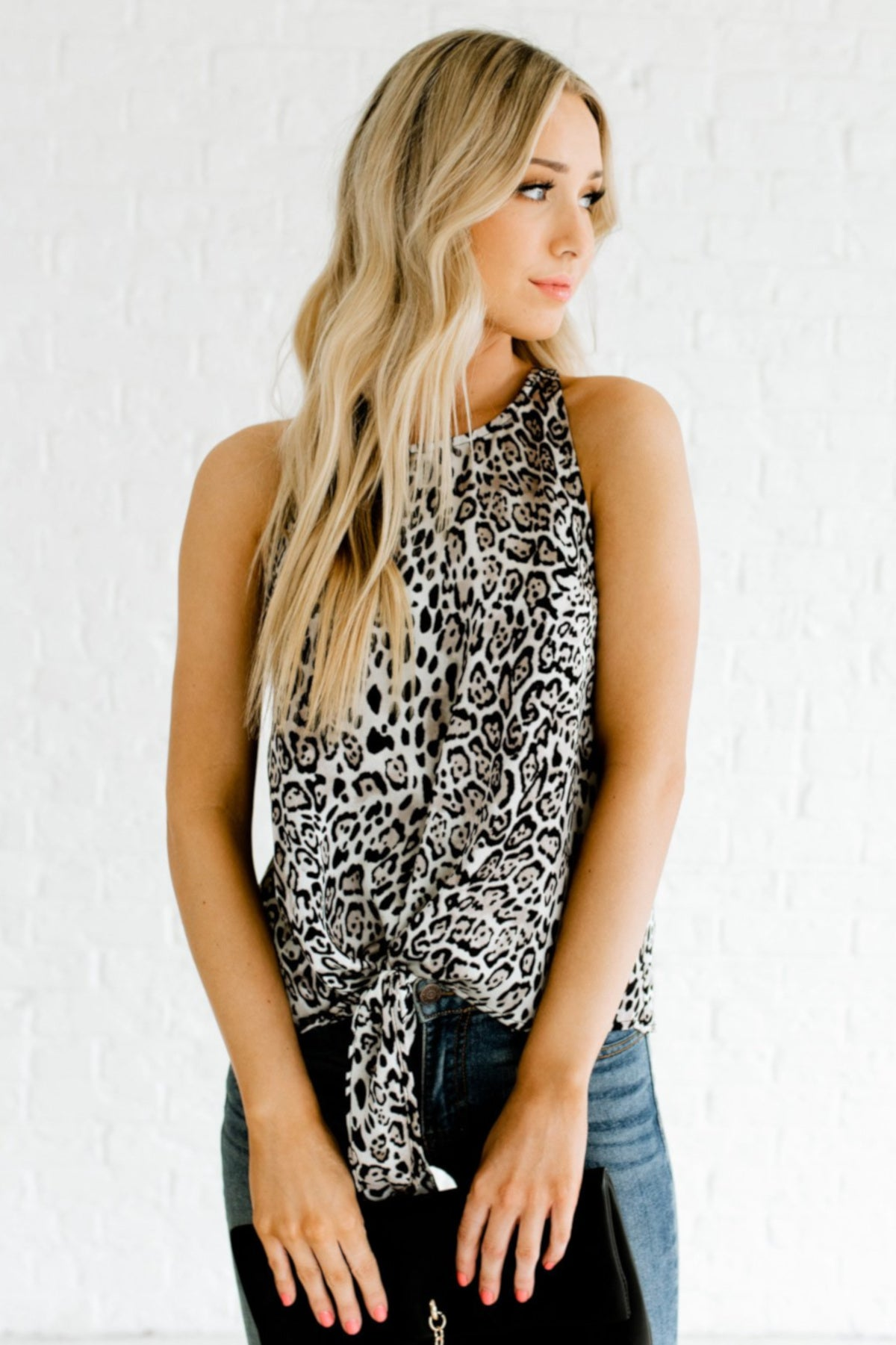 Silver Gray Black Snow Leopard Animal Print Front Knot Tank Tops