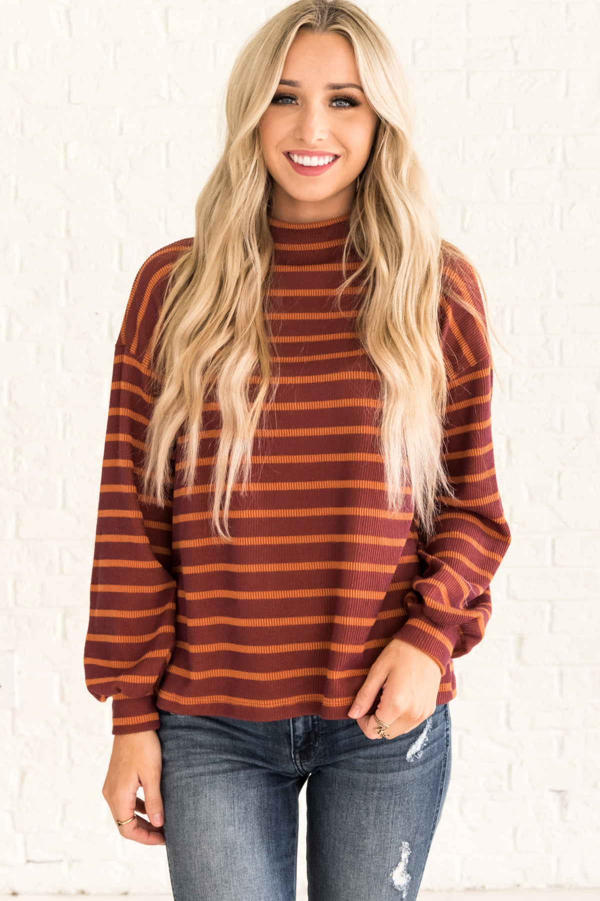 Orange Cute Striped Pullover Turtleneck Top for Fall