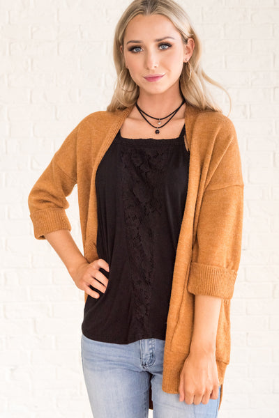 Orange Cute Comfy Cozy Soft Stretchy Cardigan Sweaters with Pockets