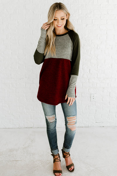 Burgundy Red Olive Green Marled Gray Cute Long Sleeve Color Block Striped Tops