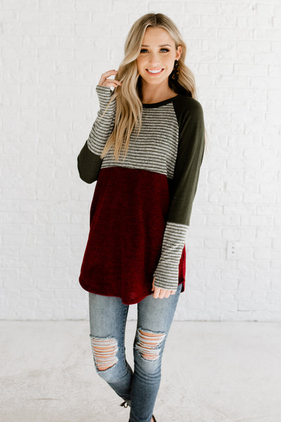Burgundy Red Olive Green Gray Striped Color Block Long Sleeve Tops with Thumbhole Sleeves
