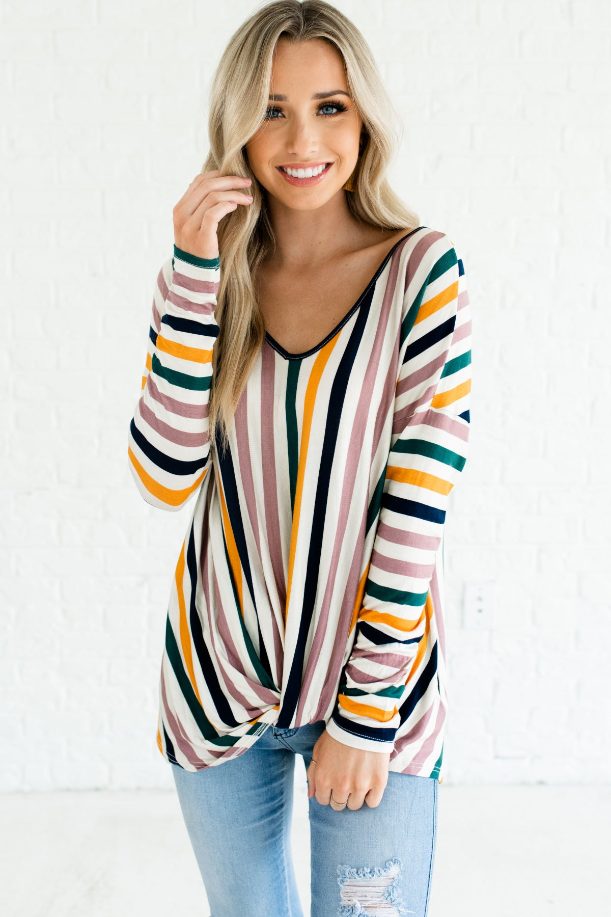 Cream Lavender Purple Teal Green Orange Navy Striped Oversized Knot Tops for Women