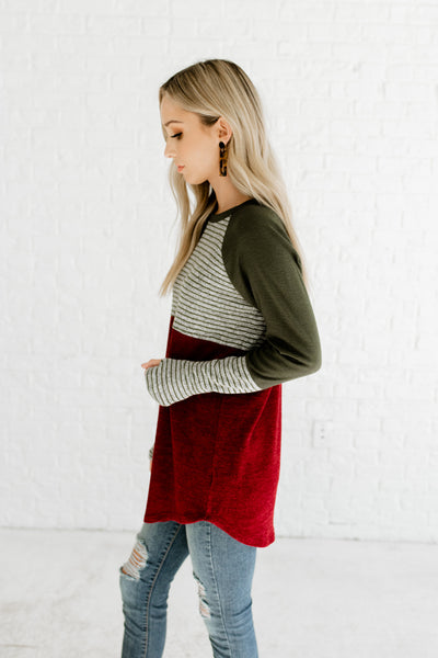 Burgundy Olive Gray Color Block Marled Striped Long Sleeve Boutique Cozy Fashion Tops