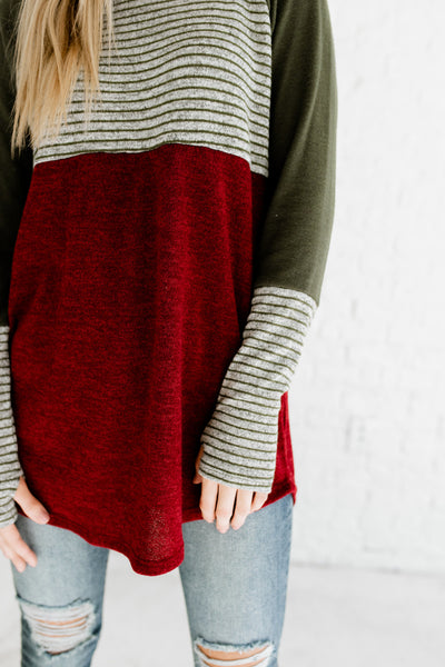 Burgundy Olive Gray Marled Striped Color Block Thumbhole Long Sleeve Boutique Fashion Tops