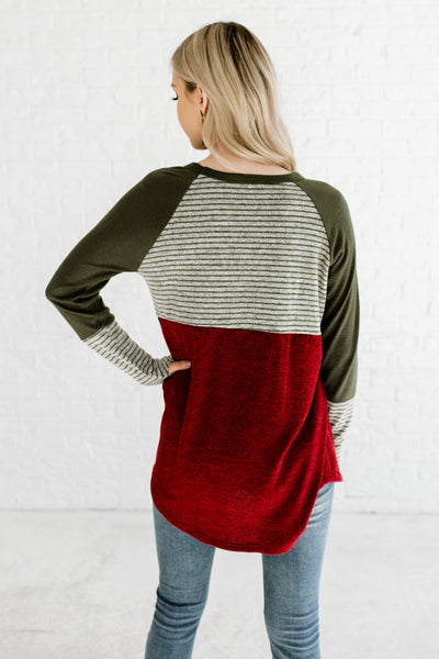 Burgundy Red Marled Gray Olive Green Color Block Striped Boutique Long Sleeve Tops