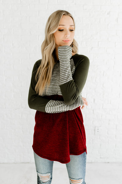 Red Green Gray Striped Color Block Long Sleeve Cozy Tops Affordable Online Boutique