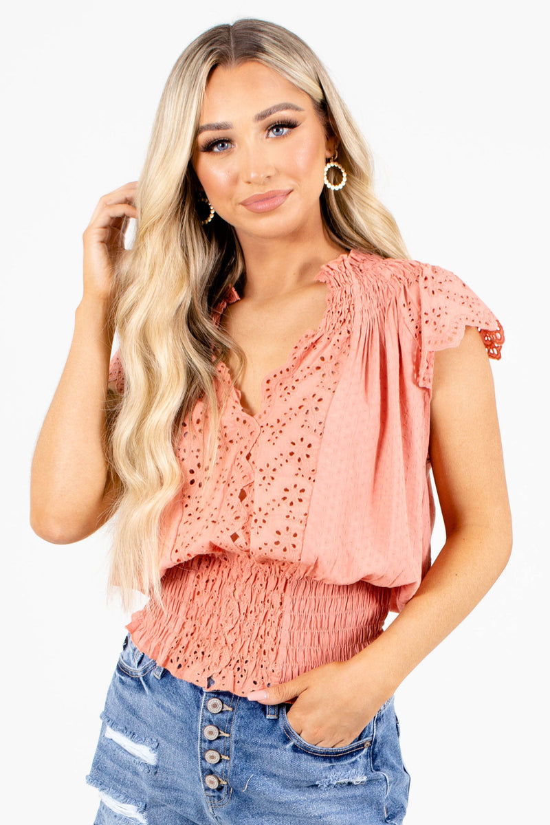 Sunday Afternoons Eyelet Accent Top