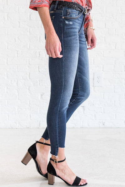 boutique jeans with frayed hems