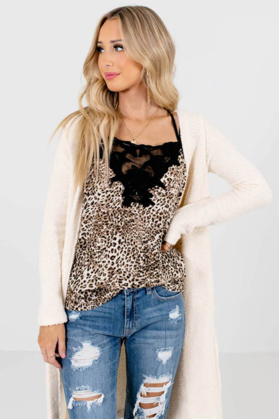 Beige Brown and Black Leopard Print Boutique Tank Tops for Women