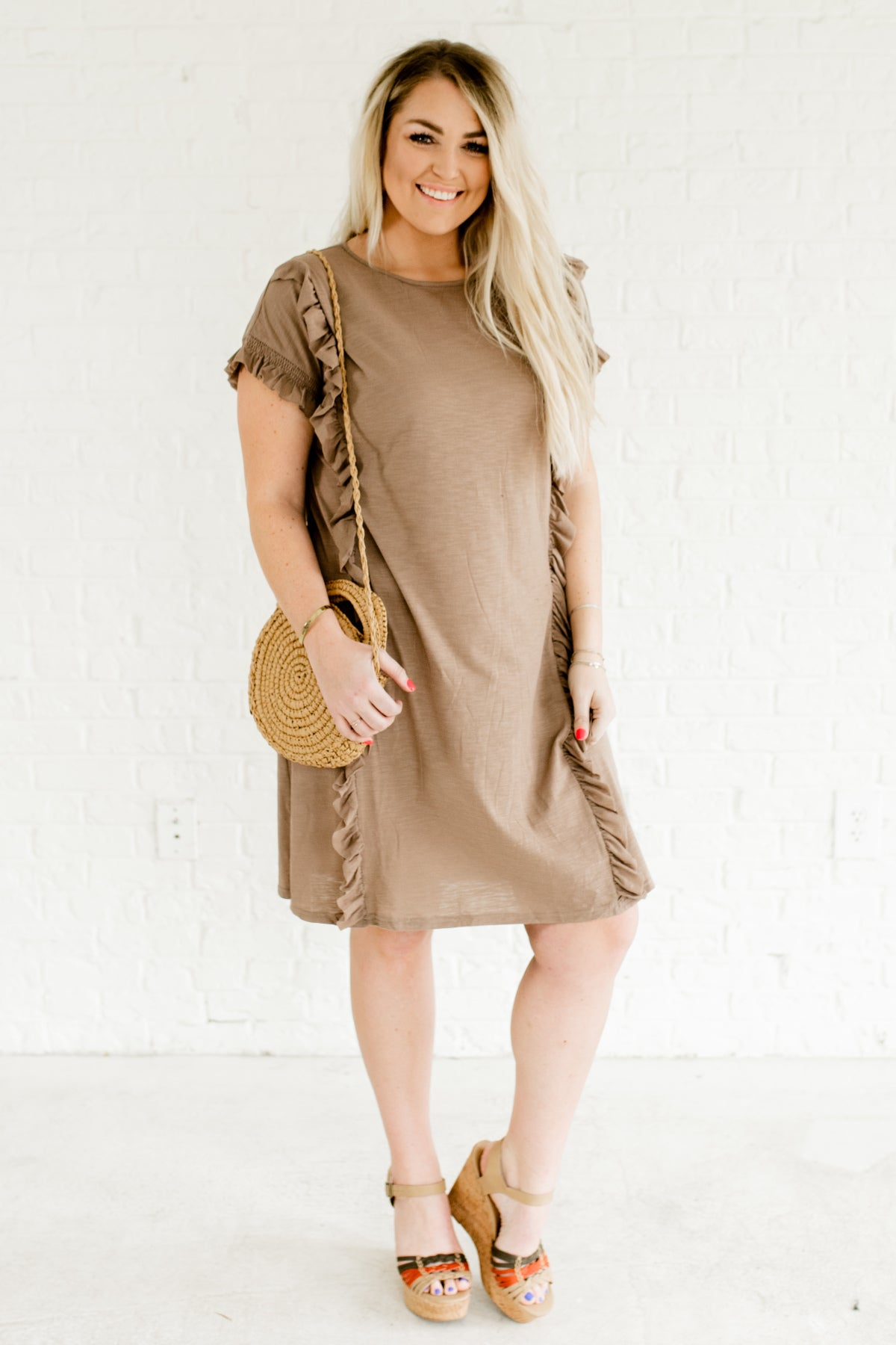 Taupe Brown Ruffle Bodice Smocked Sleeve Plus Size Boutique Dresses