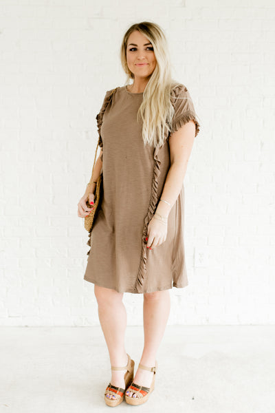 Taupe Brown Cute Plus Size Boutique Ruffle Dresses for Women