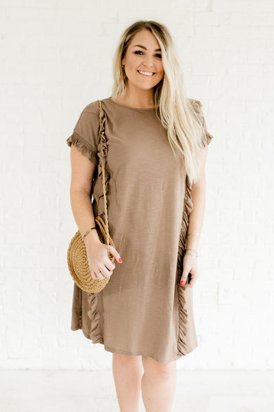 Taupe Brown Plus Size Boutique Dresses with Smocked Ruffle Sleeves