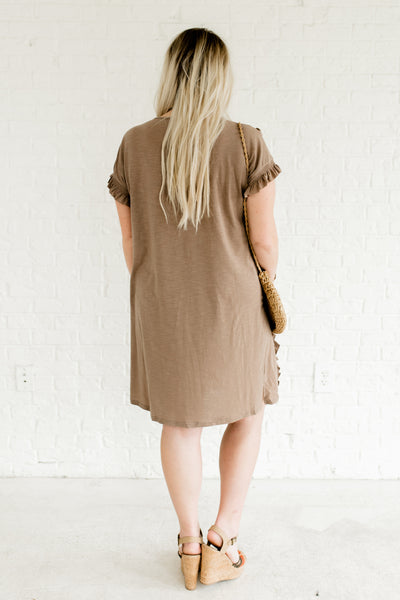 Taupe Brown Smocked Ruffle Knee Length Dresses Plus Size Boutique