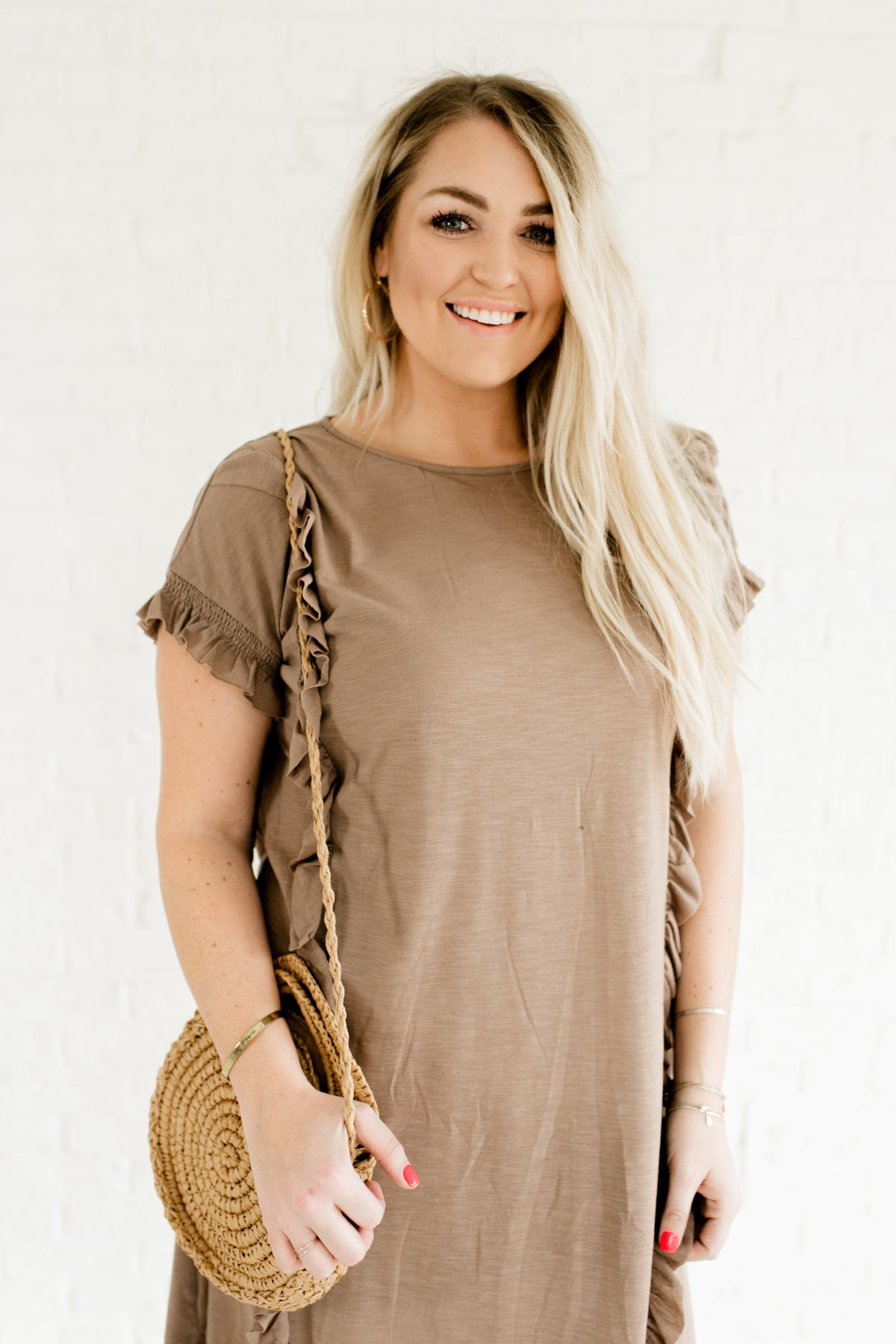 Best of Friends Taupe Brown Knee-Length Dress | Plus Size