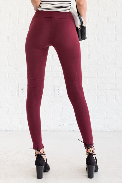Burgundy Red Leggings
