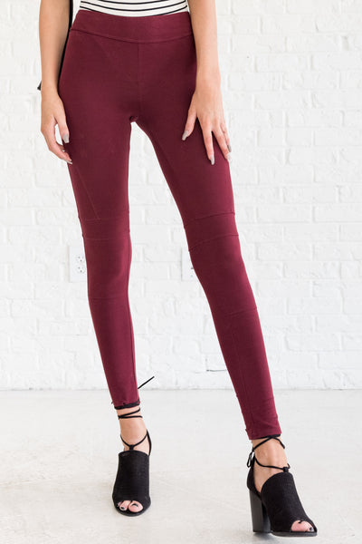 Burgundy Red Winter Leggings