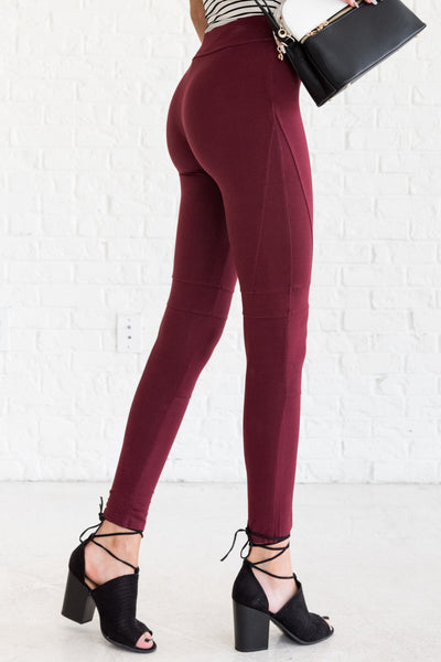 Burgundy Red Women's Leggings