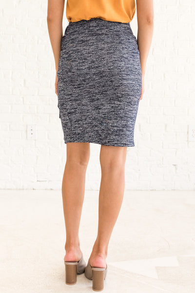 Navy Heathered Tight Mini Pencil Skirt with Tie Wrap Front