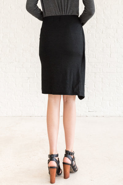 Black Bow Stretchy Tight Pencil Skirt Above Knee